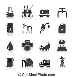 industria, aceite, iconos