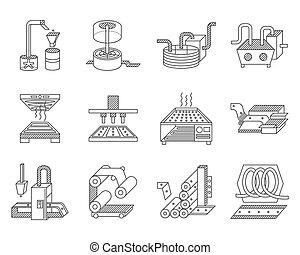 industria alimentare, elaborazione, vettore, icone