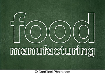 industria alimentare, lavagna, fondo, manifatturiero, concept: