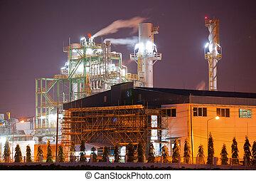 industria, caldaia, in, raffineria petrolio, pianta, notte