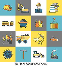 industria carbón, iconos, línea, plano