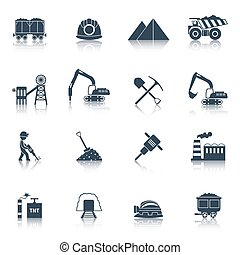 industria carbón, negro, iconos