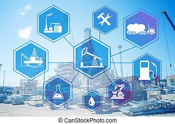 industria, concetto, gas, olio, automazione