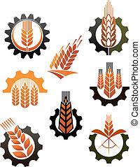 industria, conjunto, agricultura, retratar, iconos