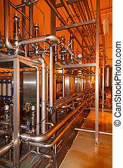 industria de comida, tanques, tubos