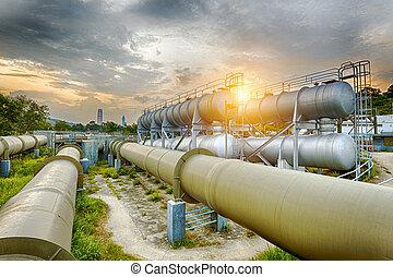 industria de petróleo, gas, fábrica, refinería, ocaso