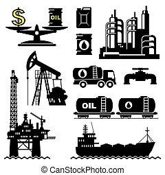 industria de petróleo, iconos, conjunto