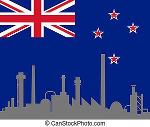 industria, e, bandiera, di, nuova zelanda