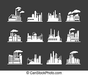 industria, fábrica, edificio, iconos