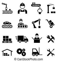 industria, fabricación, fábrica, iconos