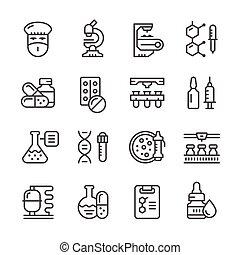 industria farmacéutica, conjunto, línea, iconos