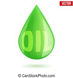industria, gota, verde, símbolo, aceite