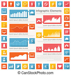 industria, infographic, él, elementos