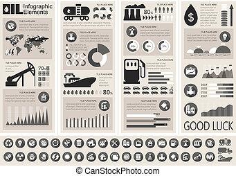 industria, infographic, sagoma, olio