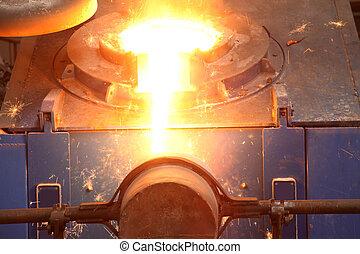 industria, líquido, fundido, acero