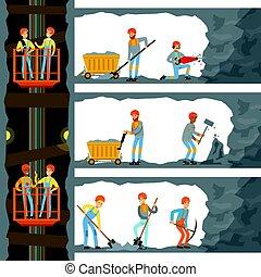 industria, lavorativo, carbone, molti, miniera, minatori, appliances., ascensore, livelli, lavorante