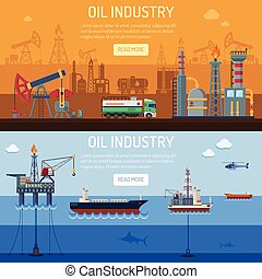 industria, olio, bandiere