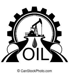 industria, olio, icona