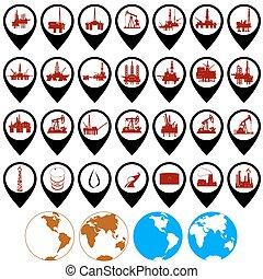 industria, olio, icone