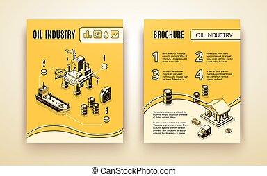 industria olio, vettore, sagoma, opuscolo, ditta