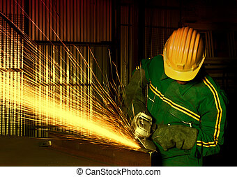 industria, pesante, macinatore, lavoratore manuale