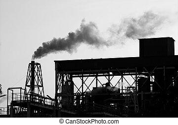 industria, producto petroquímico, cielo, iluminar desde el...