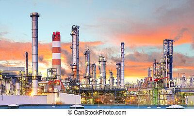 industria, raffineria, fabbrica, olio