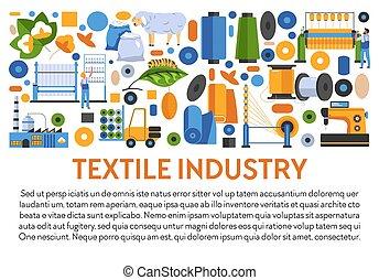 industria textil, bandera industrial, telas, texto, iconos