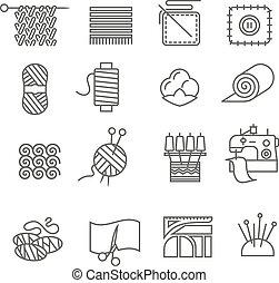 industria textil, conjunto, iconos