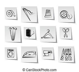 industria textil, objetos, iconos