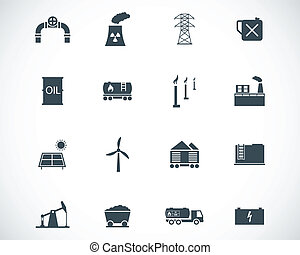 industria, vector, negro, conjunto, iconos