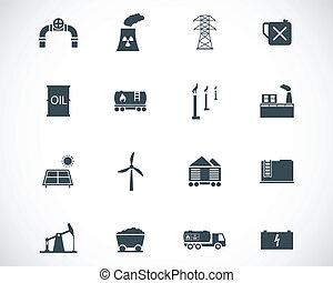 industria, vettore, nero, set, icone