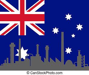 industria, y, bandera, de, australia
