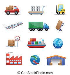 industria, y, logística, icono, conjunto