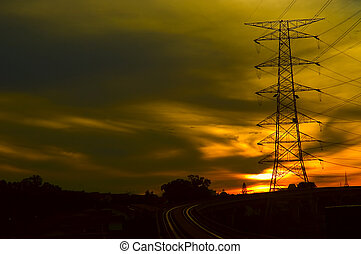 Industrial 02 - Industrial power grid shot in a red dusky ...