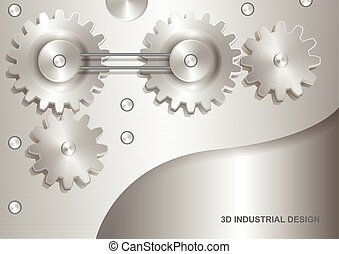 Industrial 3D abstract design - gears. Color silver light tone. Vector EPS10.