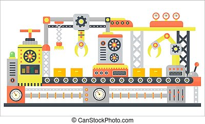 Industrial abstract machine line in flat style. Factory construction machinery technology equipment, engineering vector illustration.