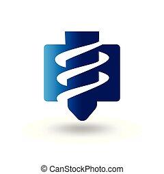 industrial, abstratos, brocas, vetorial, logotipo, ícone