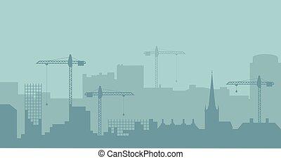 industrial, abstratos, silhouette., panorâmico, vetorial, illustratuion, skyline., construção, paisagem