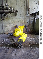 industrial accident victim lying at the wall