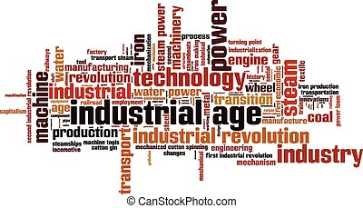 Industrial age word cloud concept. Vector illustration