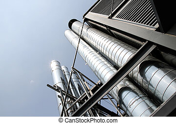 Industrial Air conditioning - Some industrial metal pipes of...