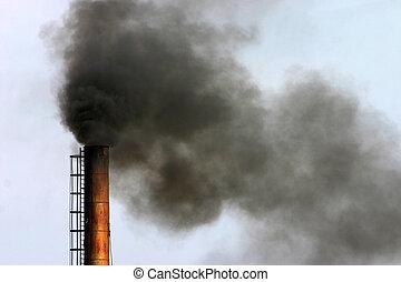 industrial air pollution - Air pollution - smoke billowing...
