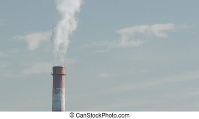 Industrial Air Pollution. Time Lapse Of Smoking Chimneys Of A Power Plant Polluting The Air