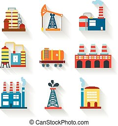 Industrial and Building icons flat style,  vector