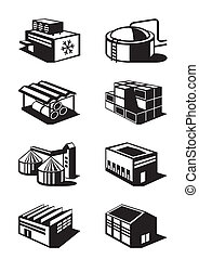 Industrial and commercial warehouses - vector illustration