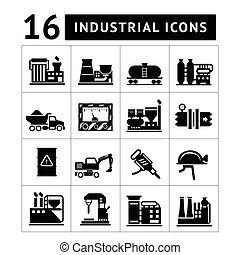 Industrial and factory icons set