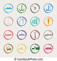 Industrial and logistic color icons.  Vector illustration.