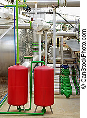 Industrial Area - Boilers and pipes in an industrial area