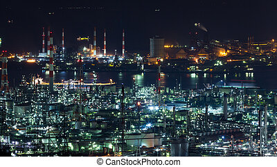 Industrial area in Japan at night